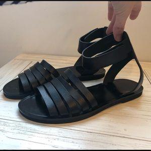 Vince Ankle Strap Flat Black Sandals
